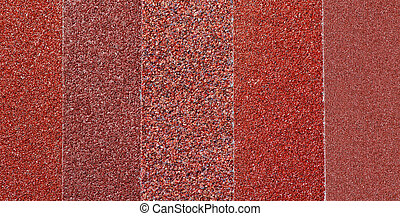 Glasspaper background - Sheets of sandpaper with different...