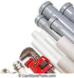 Plumbing supplies - Plumbing tool pipes and fittings on...