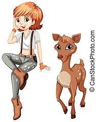 Cute girl and little fawn illustration