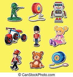 Sticker set with toys on yellow background illustration