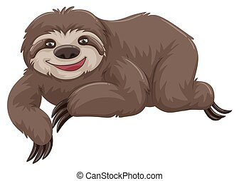 Sloth with happy face illustration
