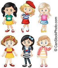 Girls from different countries illustration