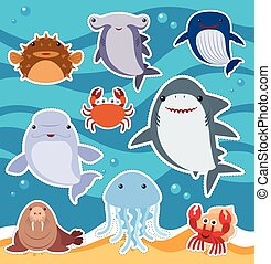 Sticker design with cute sea animals illustration