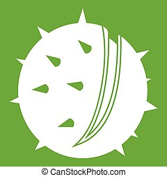 Chestnut icon green - Chestnut icon white isolated on green...