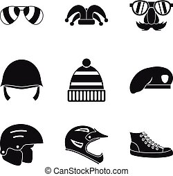 Protection hats icon set, simple style - Protection hats...