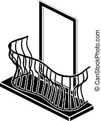 Stylish balcony icon, simple style - Stylish balcony icon....