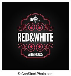 wine logo red and white label design background 10 eps