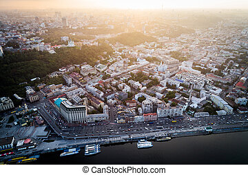 Panoramic view of a modern city at sunset. Postal square,...