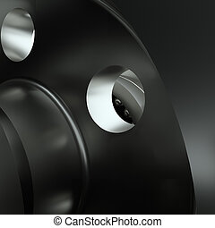 Large cog wheels in gearbox. 3d illustration