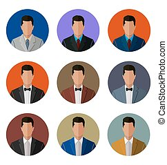business men set - Flat avatars business men set