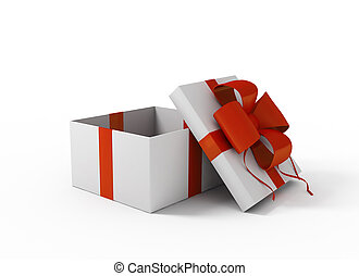 Open white gift box 3 d image
