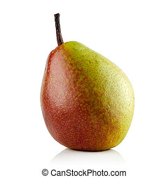 red green pear - red juicy ripe green pear on white...