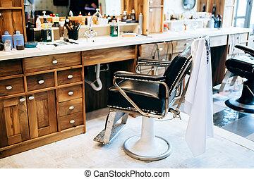 Vintage barber shop interior