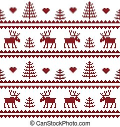 Stock vector. Seamless fabric.Merry Christmas and happy New year. Elk.