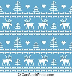 Stock vector. Seamless fabric.Merry Christmas and happy New year. Elk. Tree. Pixels. White and blue color.