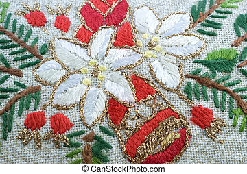 Embroidered doily - Embroidered multi-colored threads...