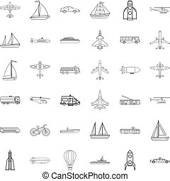 Yacht icons set, outline style - Yacht icons set. Outline...