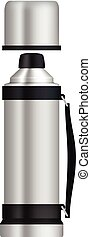 Thermos with flask mockup, realistic style - Thermos with...