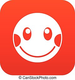 Embarrassed emoticon digital red for any design isolated on...