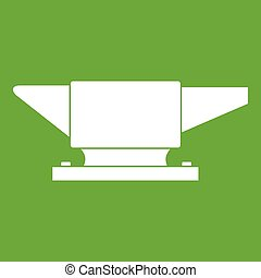 Anvil icon green - Anvil icon white isolated on green...