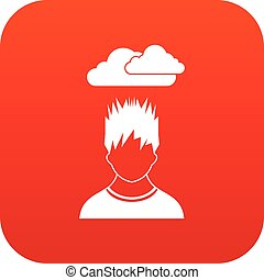 Depressed man with dark cloud over his head icon digital red...