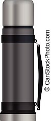 Travel thermos mockup, realistic style - Travel thermos...