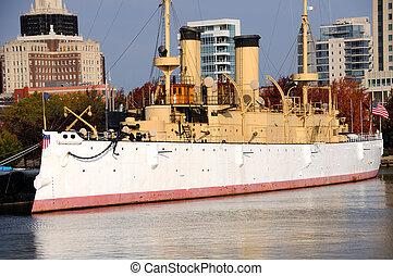 Historic Warship USS Olympia docked at Philadelphia...