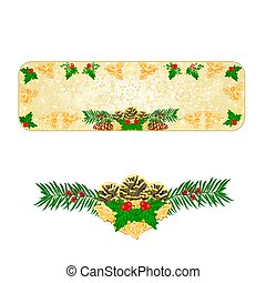 Banner Christmas pinecones holly and yew vector.eps - Banner...