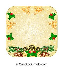 Button square Christmas pinecones holly and yew vector.eps -...