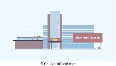 Building of shopping center with large windows and glass...
