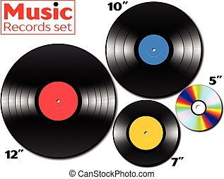 Vinyl lp and ep collection with various sizes of music media...