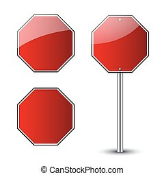 Stop traffic road signs blank set. Prohibited red octagon...