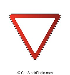 Yield triangle road sign - Yield triangle sign blank....