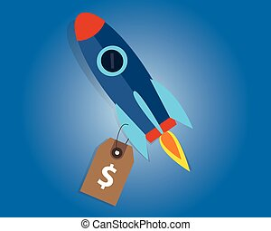 start-up company valuation price sell rocket symbol launched...