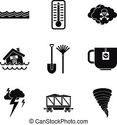 Water disaster icon set, simple style - Water disaster icon...
