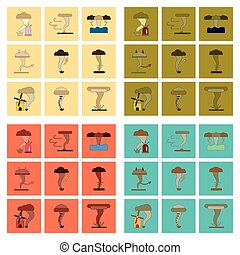 assembly flat icons natural disaster tornado - assembly of...