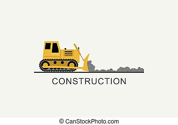 Bulldozer leveled the road. Construction machinery in flat...
