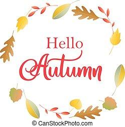 letras, compras, bandera, colorido, promo, cartel, venta, folleto, follaje de otoño, hola