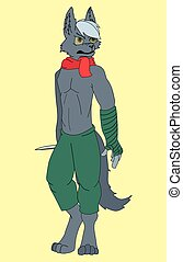 cartoon gray wolf pirate. fairy tale character