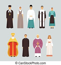 Religion people characters set, men and women of different religious confessions in traditional clothes