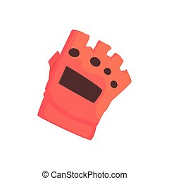 Red sportive protective glove cartoon vector Illustration on...