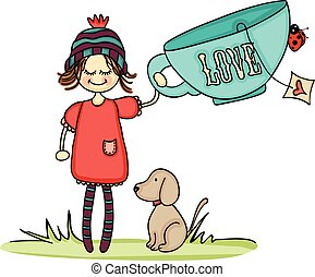 Girl and dog with big love cup tea. - Scalable vectorial...