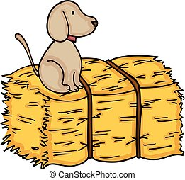 Little dog up on bale of hay - Scalable vectorial image...