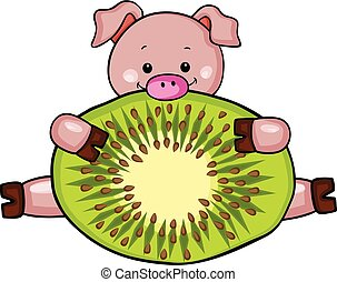 Little pig with slice of kiwi