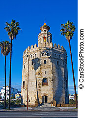 Torre del Oro, in Seville, Spain - A view of the Torre del...