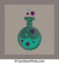 flat shading style icon halloween potion bottle - flat...