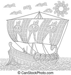 Zentangle stylized ancient greek galley - Coloring page of...