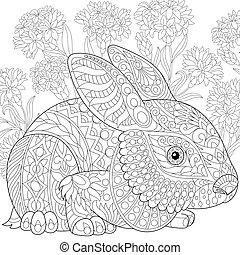 Zentangle stylized easter bunny among flowers - Coloring...