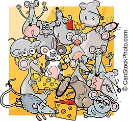 cartoon mice and rats with cheese - Cartoon Illustration of...