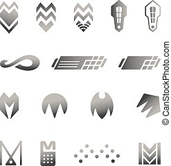 Vector Security Icons Set - Silver business abstract symbols...
